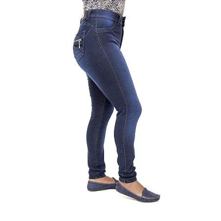 Calça Jeans Feminina S Planeta Hot Pants Azul com Cintura Alta