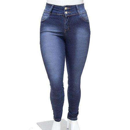 Calça Jeans Feminina Plus Size Meitrix Azul com Elástico Cintura Alta
