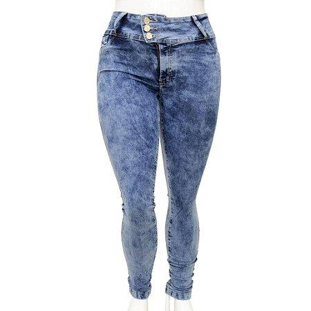 Calça Jeans Feminina Legging Cheris Azul Manchada Plus Size com Cintura Alta