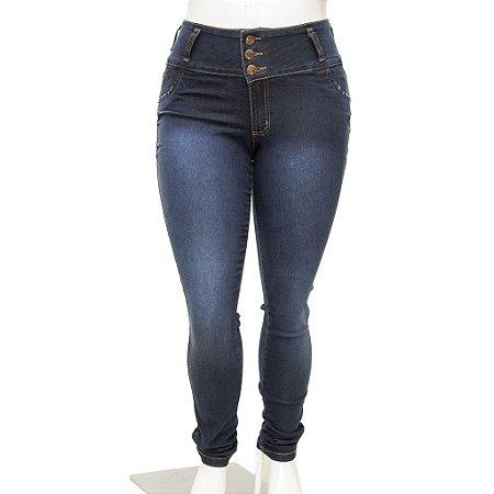 Calça Jeans Feminina Legging Thomix Escura Plus Size com Cintura Alta