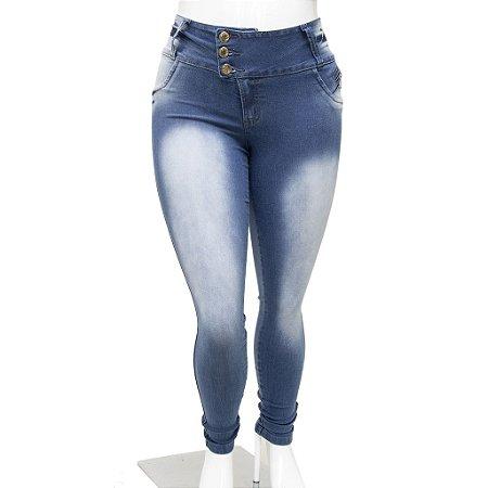 Calça Jeans Feminina Legging Helix Manchada Plus Size Cintura Alta com Elástico