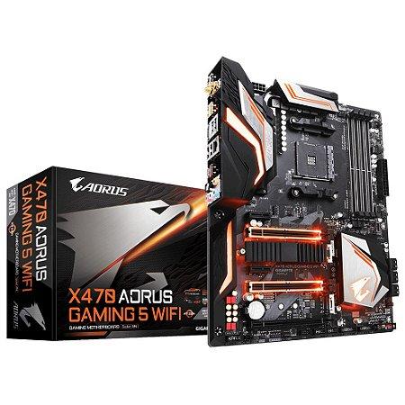 PLACA-MÃE GIGABYTE X470 AORUS GAMING 5 WIFI AMD AM4 DDR4