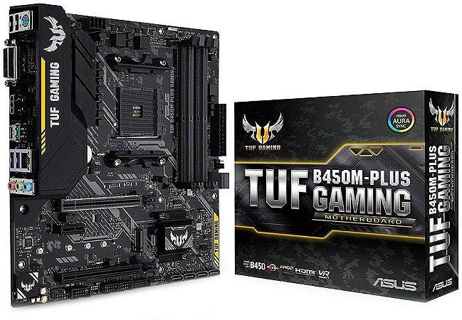 PLACA-MÃE ASUS TUF B450M-PLUS GAMING AURA CROSSFIRE AMD AM4