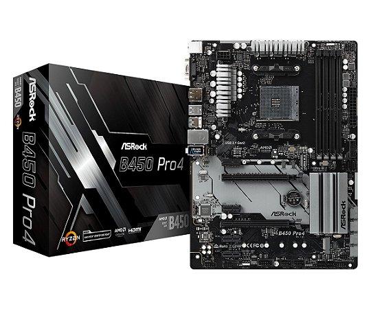 PLACA-MÃE ASROCK B450 PRO4 CROSSFIRE AMD AM4 DDR4