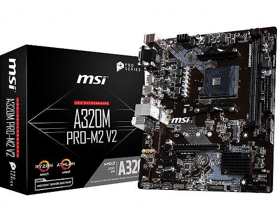 PLACA-MÃE MSI A320M PRO-M2 V2 AMD AM4 DDR4 MATX