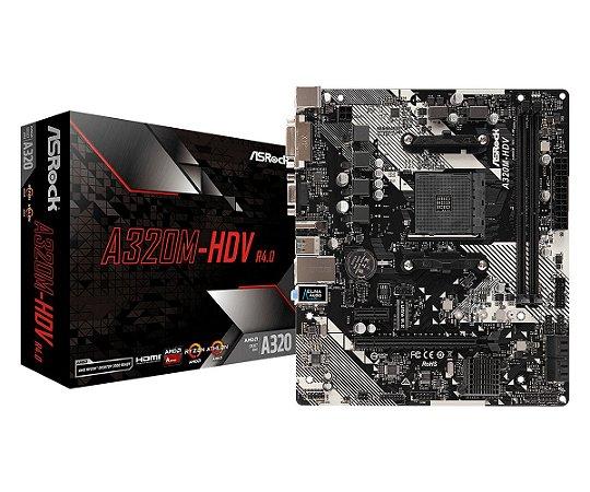 PLACA-MÃE ASROCK A320M-HDV R4.0 AMD AM4 DDR4 MATX