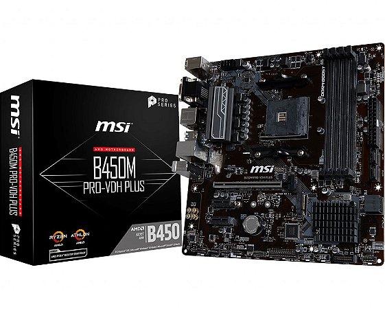 PLACA-MÃE MSI B450M PRO-VDH PLUS AMD AM4 DDR4 MATX
