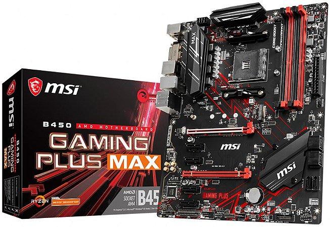 PLACA-MÃE MSI B450 GAMING PLUS MAX CROSSFIRE AMD AM4 DDR4