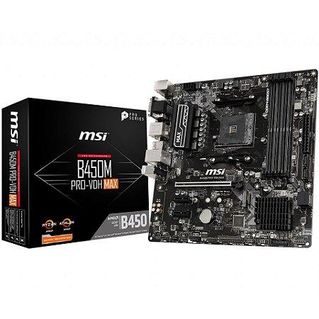 PLACA-MÃE MSI B450M PRO-VDH MAX AMD AM4 DDR4