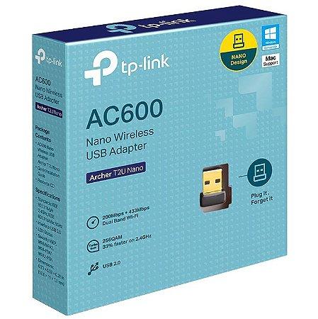 NANO ADAPTADOR USB SEM FIO TP-LINK AC600 ARCHER T2U