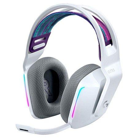 Headset Gamer Sem Fio Logitech G733 Rgb Lightsync 7.1 Branco