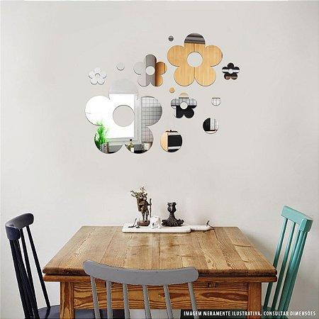 Conjunto decorativo em Acrílico Espelhado - Margaridas