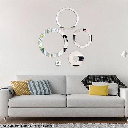 Conjunto decorativo em Acrílico Espelhado - Círculos