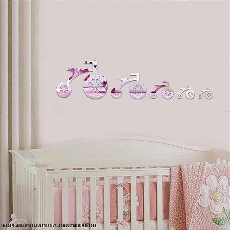 Conjunto decorativo em Acrílico Espelhado - Bikes