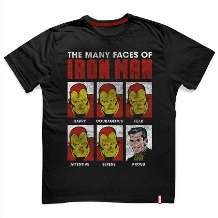 Camiseta Marvel Iron Man Faces