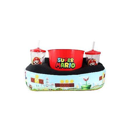 Kit Almofada Porta Pipoca Mario Bros