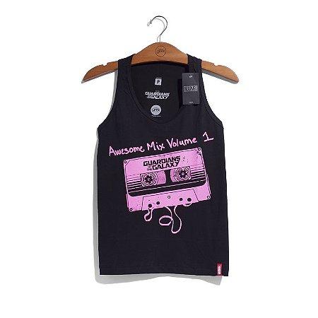 Camiseta Feminina Guardiões da Galáxia Awesome Mix
