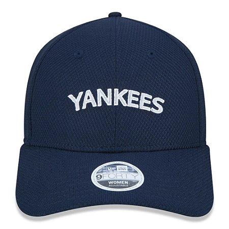 Boné New Era Feminino 9Forty MLB NY Yankees Azul Aba Curva