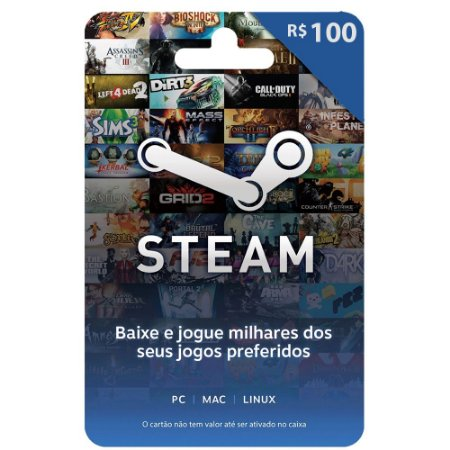 Cartão Pré Pago Steam 100 Reais - Envio Digital