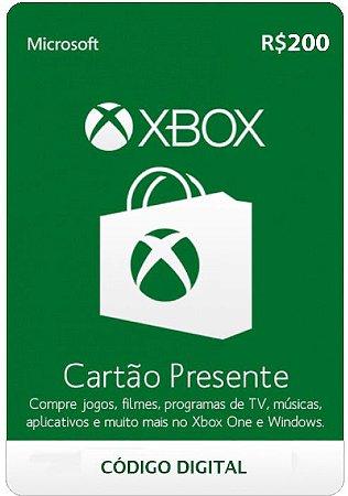 Cartão Presente Microsoft Xbox live - R$200 - Código Digital