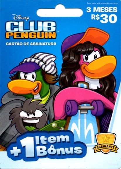 Cartão Pré Pago - Assinatura 3 Meses Club Penguin + 1 Item Bônus