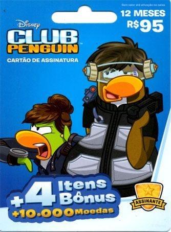 ASSINATURA 12 MESES CLUB PENGUIN - BRINDE 4 ITENS BÔNUS + 10.000 MOEDAS