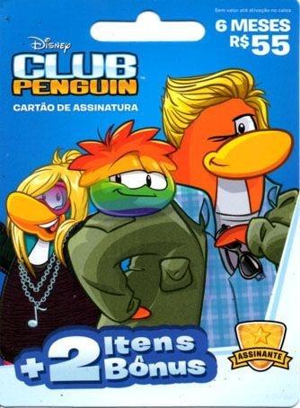 Cartão Pré Pago - Assinatura 6 Meses Club Penguin + 2 Itens Bônus