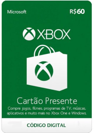 Cartão Presente Microsoft Xbox live - R$60 - Código Digital