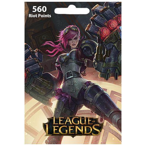 Cartão League Of Legends 560 RPs  - LOL Riot Points