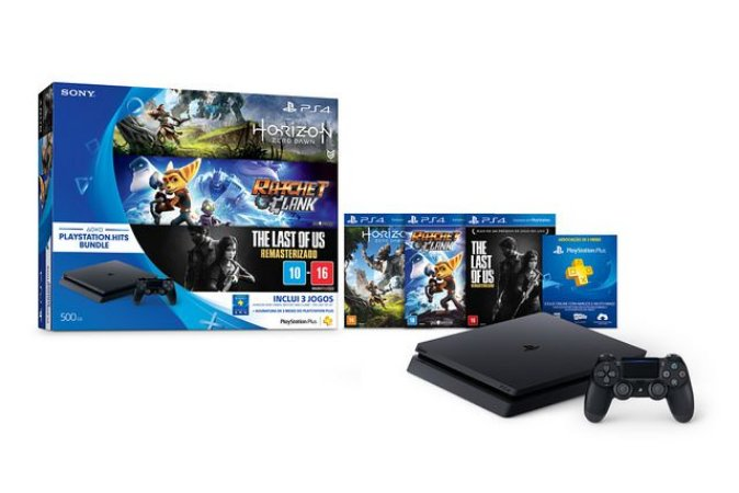 Console Sony Playstation 4 Slim 500 Gb Bundle Hits 4 Jogos + Assinatura PS Plus 3 Meses