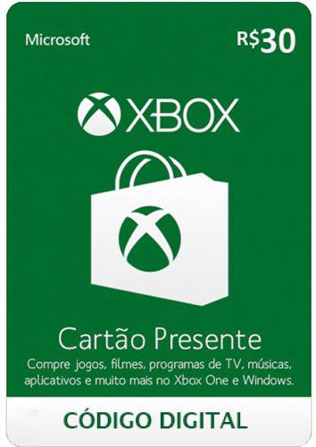 Cartão Presente Microsoft Xbox Live R$30 - Código Digital