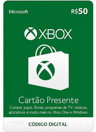 Cartão Presente Microsoft Xbox live - R$50 - Código Digital
