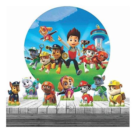 Painel Tecido Redondo 1.30m + 6 Display Patrulha Canina Fest