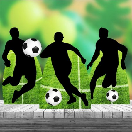 Kit Festa 3 Centro Mesa Display Totem Futebol Bola Jogador