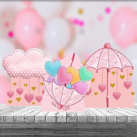Totem Mesa Kit 3 Lembrancinha Chuva Amor Benção Rosa Menina