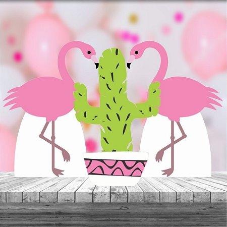 Kit 3 Totem Festa Display Flamingo Tropical Abacaxi