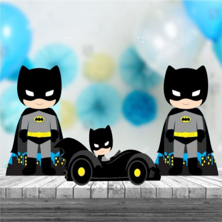 Kit 3 Batman Cute Centro De Mesa Totem Display Festa Mdf