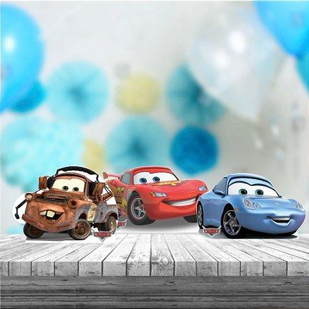 Kit 3 Carros Pixar Mcqueen Totem Display Mdf