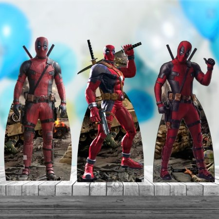 Kit 3 Deadpool Totem Display Mesa Mdf