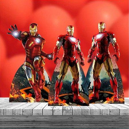 Kit 3 Totens Homem De Ferro Cenário Decoração Aniversário