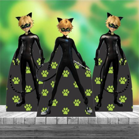 Kit 3 Cat Noir Ladybug Miraculous Totem Display Mdf