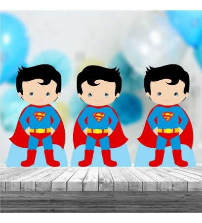Kit 3 Superman Cute Totem Display Centro Mesa Mdf