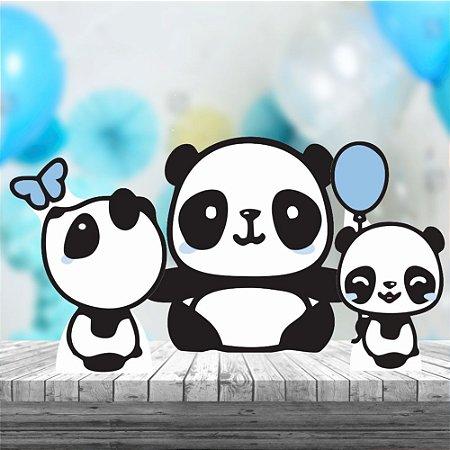 Kit 3 Panda Menino Cute Totem Display Mdf