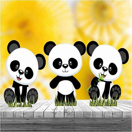 Kit3 Totem Mdf Mesa Panda Baby Festa