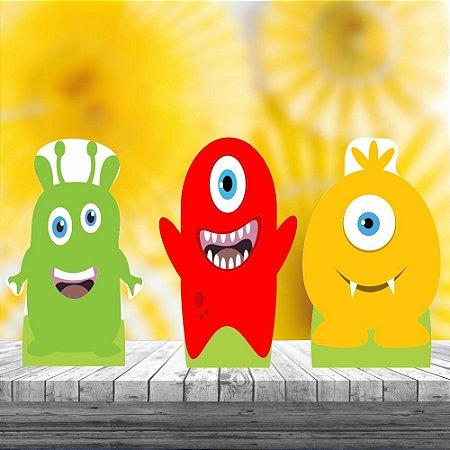 Kit 3 Totem Display Mesa Aniversario Monstrinhos Cute