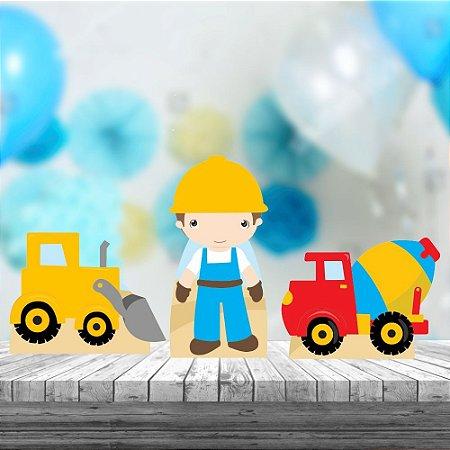 Kit 3 Display Mesa Construção Obras Decoração Festa