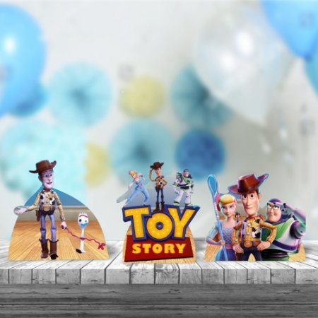 Kit 3 Totens Mdf Display Centro Mesa 26cm Toy Story 4