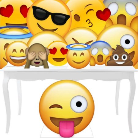 Combo Festa Bronze Totem Display Painel Emoji Decoração