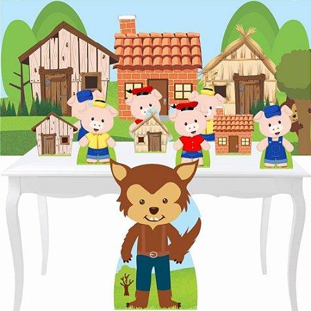 Combo Bronze Tres Porquinhos Painel Totem Aniversário Festa