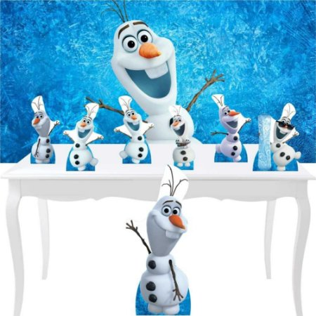 Combo Festa Bronze Olaf Frozen Neve Aniversário Display
